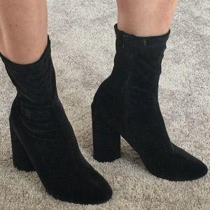Nasty Gal Velvet Bootie-Black